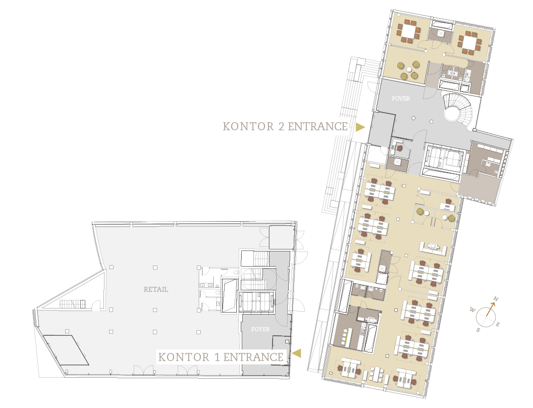 Layout options for Kontor 1 and Kontor 2 (Ground floor)